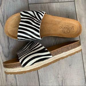 Yokono calf hair zebra espadrille Slides NWT NWOT
